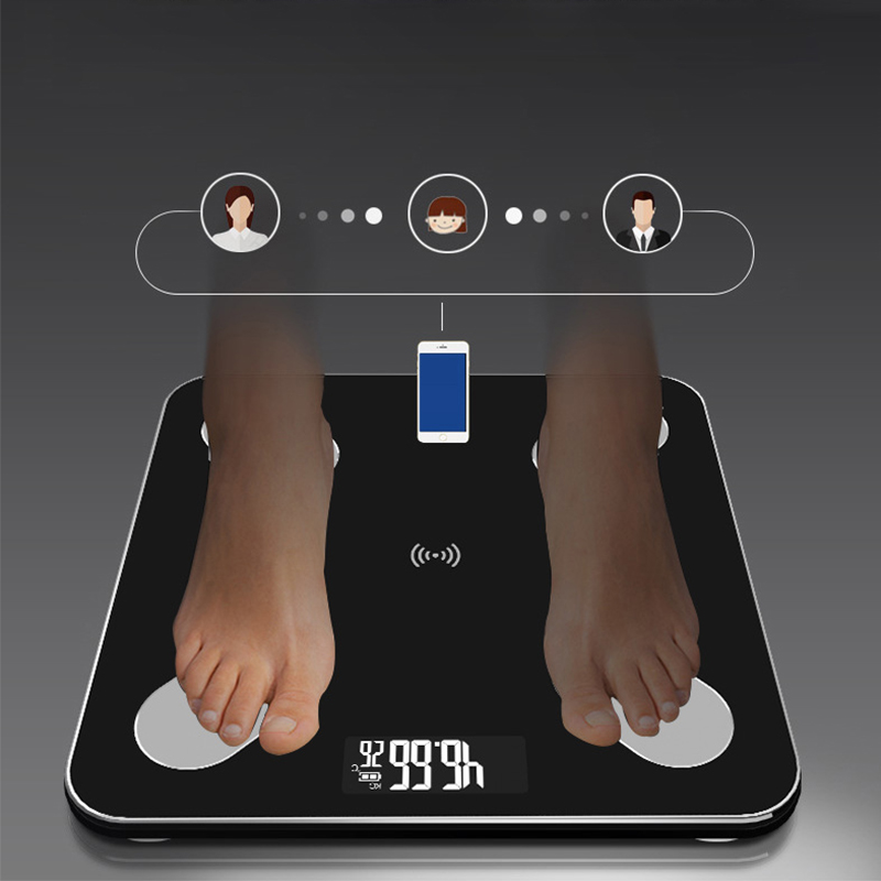 Bluetooth-Scales Lcd-Display Glass Digital-Weight Bathroom Electronic Body-Smart Home title=