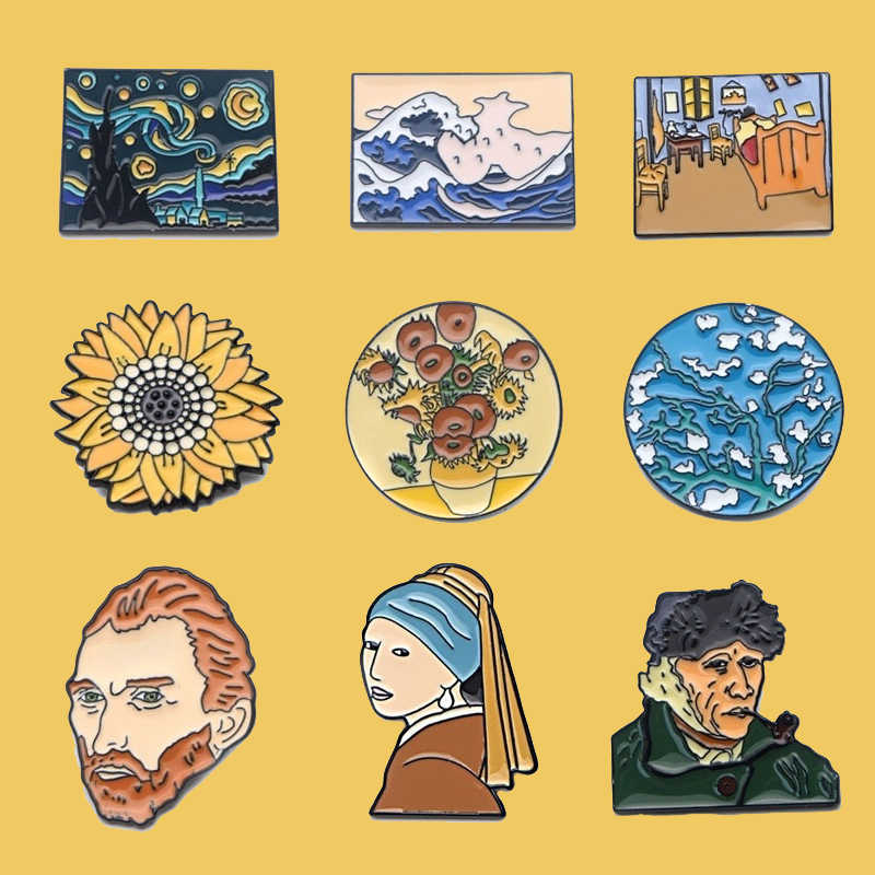 PC896 Van Gogh Art Enamel Pin Broches Cartoon Creatieve Metalen Broche Pins Denim Hoed Badge Kraag Sieraden