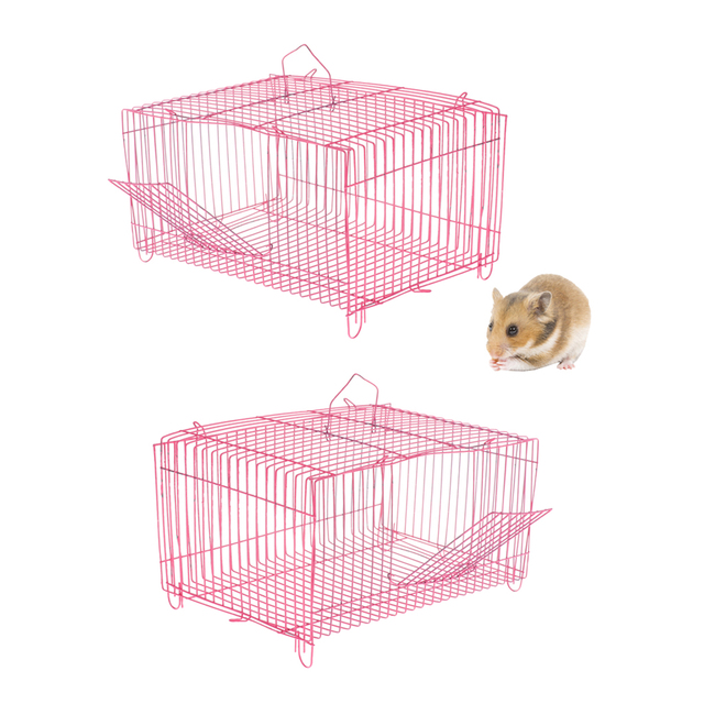 2 Pieces Small Pet Hamster Rabbit House Folding Cage Small Animal Crate