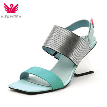 New Brand Women Sandals Genuine Leather Fashion Strange Style Summer Buckle Stra