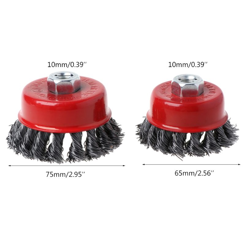 M10 Stainless Steel Wire Polishing Bowl Brush with 10MM Hole Twisted Wire Shape Wheel for Polished Derusting Tools in Brush from Tools
