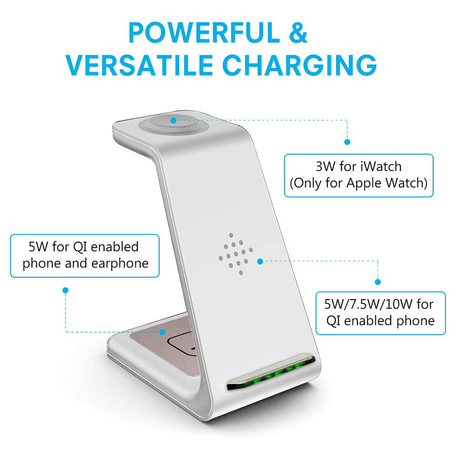 Bonola White 3 in 1 Fast Wireless Charging Stand  (2)