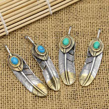 S925 Sterling Silver Vintage Thai Silver Jewelry Feather Inlaid Turquoise Pendant for Men and Women s925 filaments shaolan craft silver inlaid huang yusui pendant in front of blessing silver supply