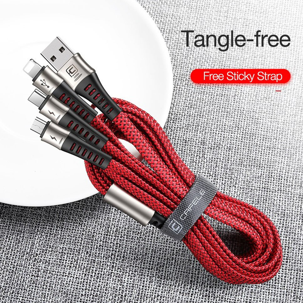 1.3M 3IN1 Mobile Phone USB Cable for <font><b>iPhone</b></font> 7 <font><b>6S</b></font> Max 3A Fast Charge Cable USB Type C Micro 130CM Data Cable for Samsung Xiaomi image