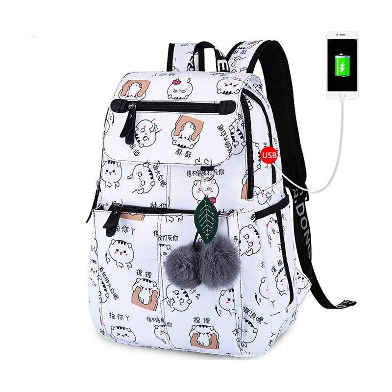 JCPAL School Bags For Girls Female Laptop Backpack Usb Backbag Children Backpacks Cute Cat School Backpack For Girls Bag Pack