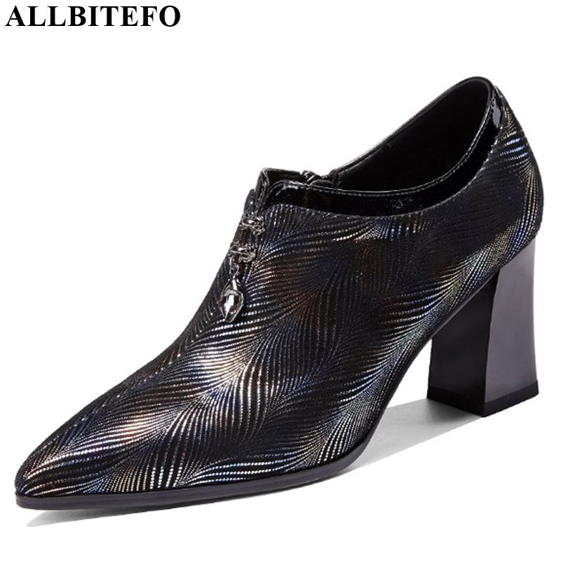 ALLBITEFO Natural Genuine Leather Pointed Toe High Heel Shoes Spring Autumn Classic Women Heels Pure Color Office Ladies Shoes