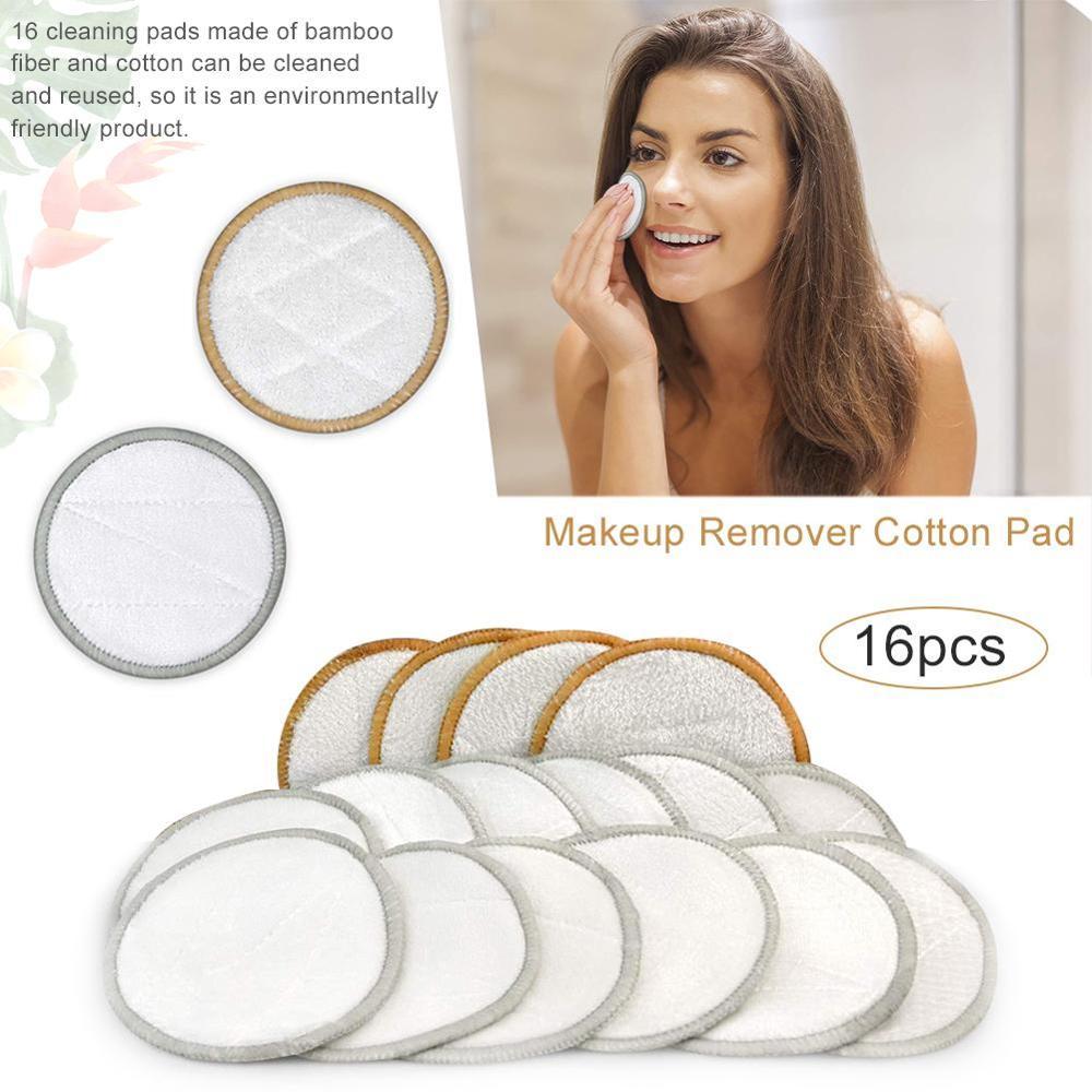 16 шт., многоразовые бамбуковые подушечки из микрофибры для снятия макияжа