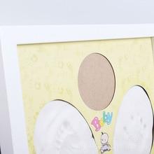 White Mud Standable Baby Handprint Footprint Wooden Frame Cute Newborn Hundred Day Souvenir Warm Gift Kids Innoxious Clay