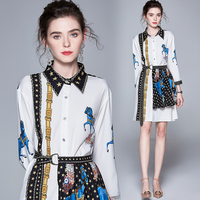 Will spot the new autumn fashion women long shirt skirt suits two piece western style dress