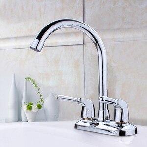Image 1 - 洗面器の蛇口 360 回転スパウトキッチンタップデュアルハンドル水栓シンク洗面台のコールミキサータップ浴室台所の蛇口