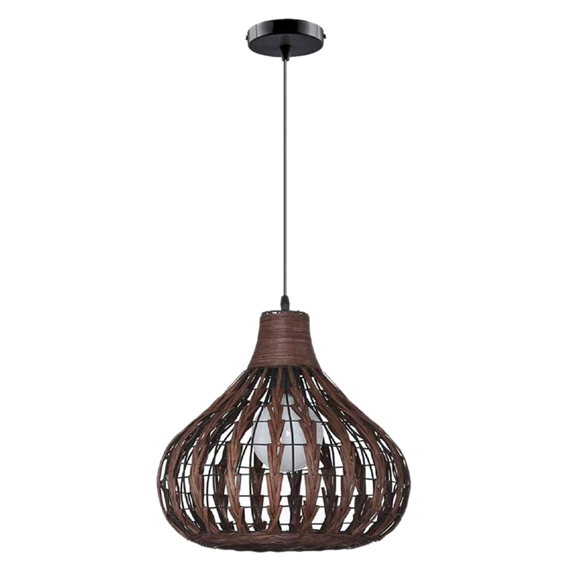Natural Bamboo Chandelier DIY Wicker Rattan Lamp Shades Weave Hanging Light Does Not Contain Bulbs