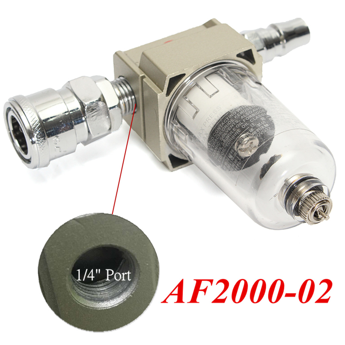 AF2000-02 1/4 Inch Particulate Compressed Air Compressor In Line Moisture Water Filter Trap Water Separator Airbrush