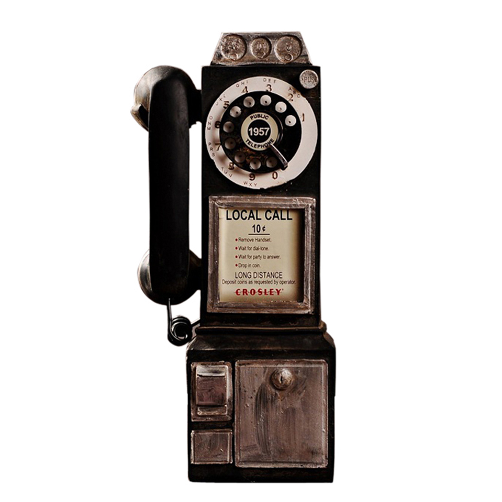 Vintage Rotate Classic Look Dial Pay Phone Model Retro Booth Home Decoration Ornament TB Sale