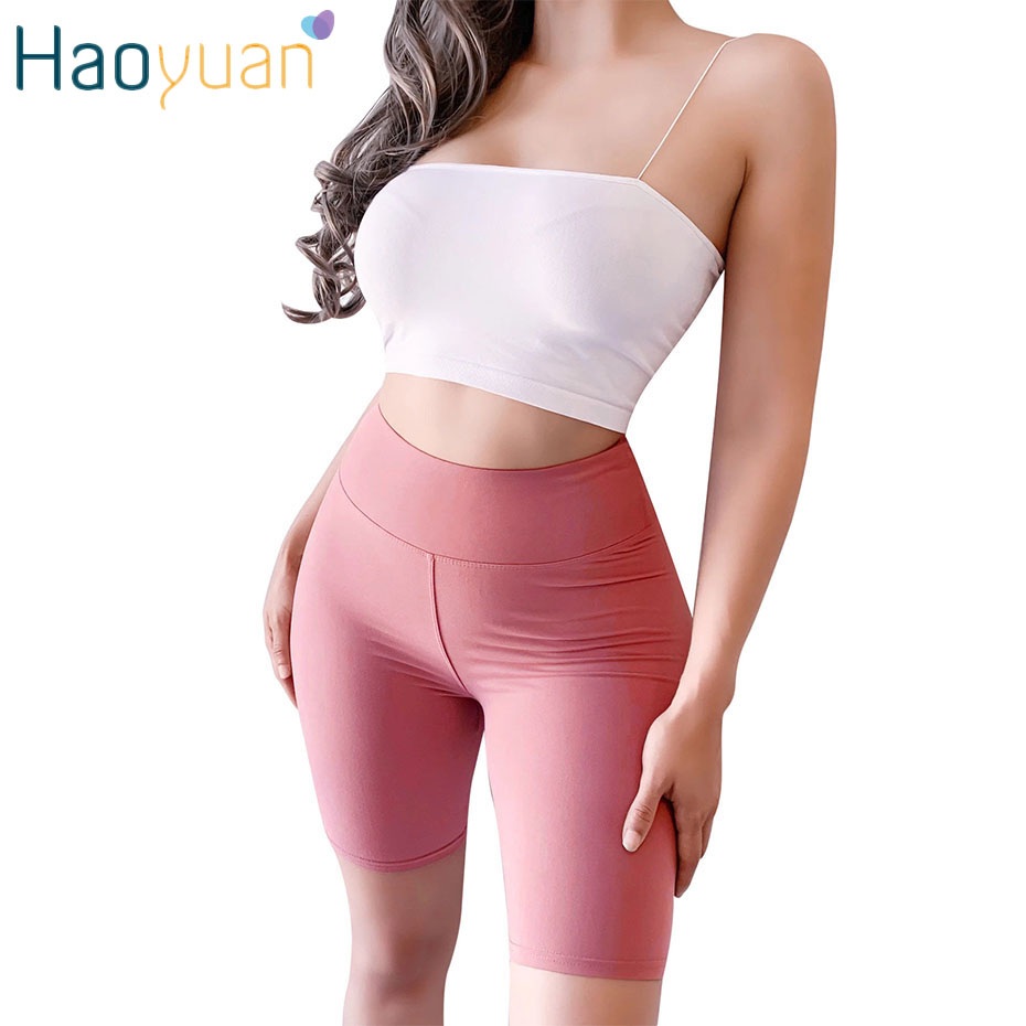 HAOYUAN Casual Biker Shorts New Fashion Summer Fitness Womens Clothing High Waisted Spandex Shorts Hot Pink Female Streetwear