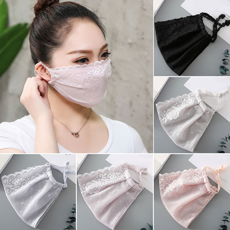 Thin Chiffon Women Lace Mouth Masks Summer Sunscreen Face Mask Sweet Girls Resuable Washable Windproof Masks Wholesale