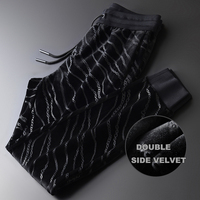 Velvet Thick Mens Luxury Double Pleuche Printed Elastic Waist Sport Male Pants Plus Size 4xl Slim Fit Man Trousers