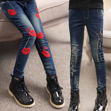 Cute Star Kids Jeans Spring Toddler Girls Denim Trousers Red Lip Pants Cotton Overalls for Big Kids Skinny Pencil Pants 3-16T