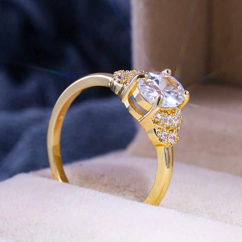Elegant หญิงสีขาวรูปไข่ Zircon แหวนแฟชั่นสี Yellow Gold งานแต่งงานแหวนสไตล์ที่ไม่ซ้ำกันสัญญาหมั้นแหวน