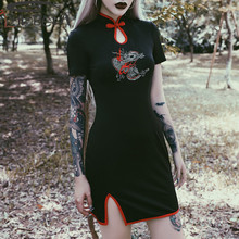 ImilyBela Gothic Sexy Mini Dress Women Embroidery Mandarin Collar Short Sleeve Hollow Out Side Slit Skinny Dress Black Cheongsam