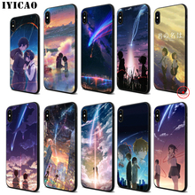 IYICAO Your Name Anime Movie Soft Black Silicone Case for iPhone 11 Pro Xr Xs Max X or 10 8 7 6 6S Plus 5 5S SE