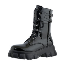 Street Fashion Cross-Lace Motorcycle Boots Thick-Soled Lightweight Autumn Or Winter Two Kinds Of Lining Knee-Length Women'S Boot
