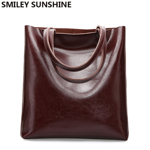 Cow Leather Bag Ladies Genuine Leather Handbags Big Women Bags Large Vintage Female New 2020 Office Shoulder Bags for women Tote(China)