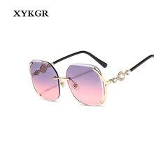 XYKGR new frameless sunglasses ladies square fashion trend ocean lens mens outdoor UV40