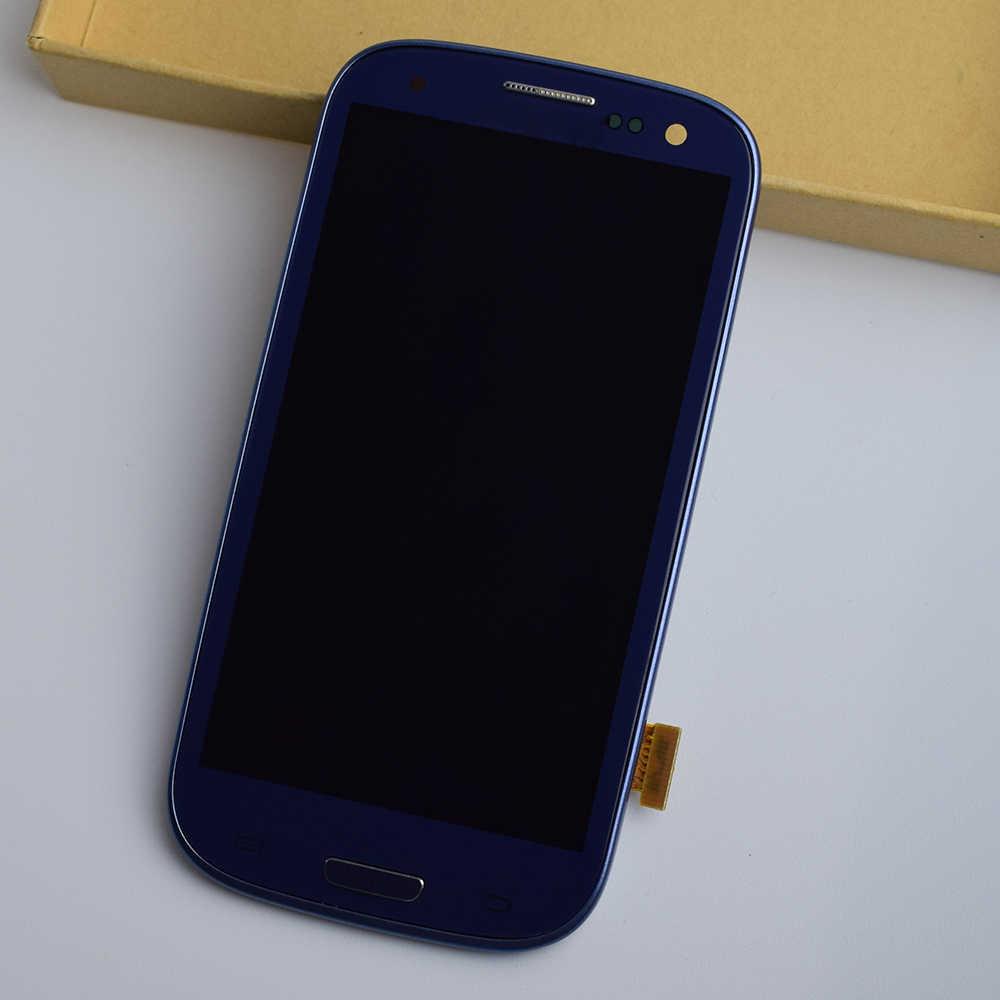 لسامسونج غالاكسي S III S3 I9300 I9301 I9305 I535 I747 9300I اللمس شاشة الاستشعار الزجاج + شاشة الكريستال السائل لوحة الجمعية + إطار