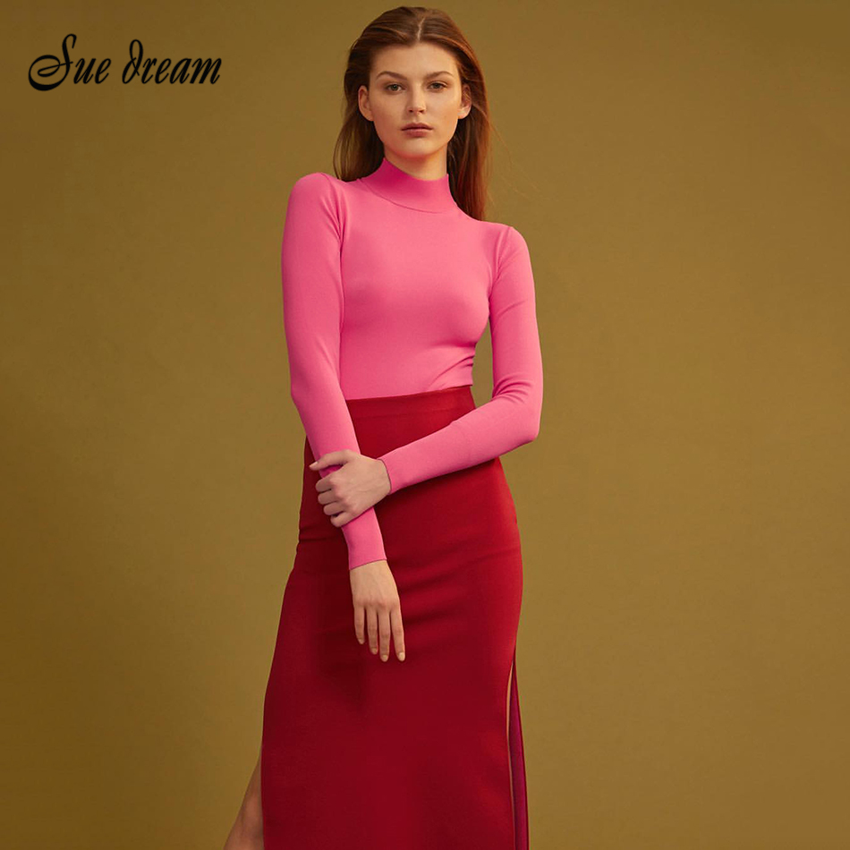 2020 Winter New Women'S Fashion Sexy Turtleneck Pink Fight Red Long-Sleeved Split Long Dress Bodycon Club Party Dress Vestidos image