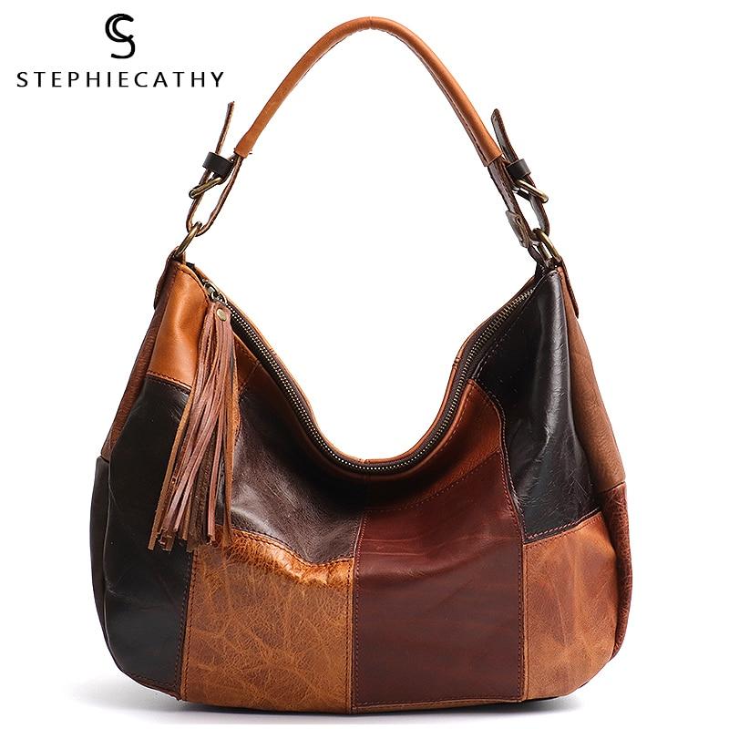 SC High Quality Leather Patchwork Women Shoulder Bag Vintage Tote Handbag Lady Soft Genuine Leather Hobo Femal Casual Crossbody