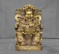 wedding decoration Chinese temple Bronze Dragon chair coin wealth God Mammon Jambhala Buddha statue