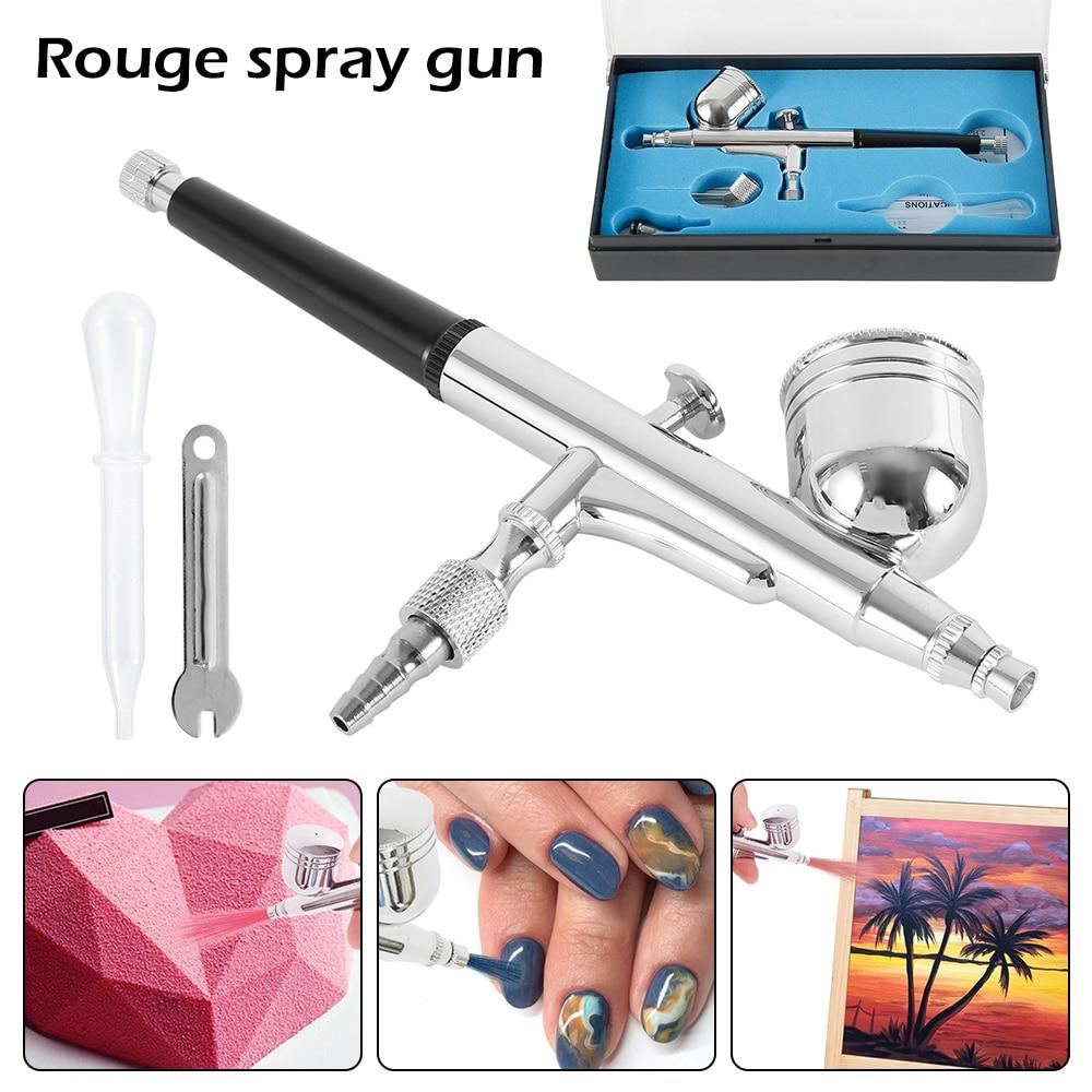 Dual Action Gravity Feed 0.3mm Gun Spray Airbrush Nail Paint Cleaning Tool Kit