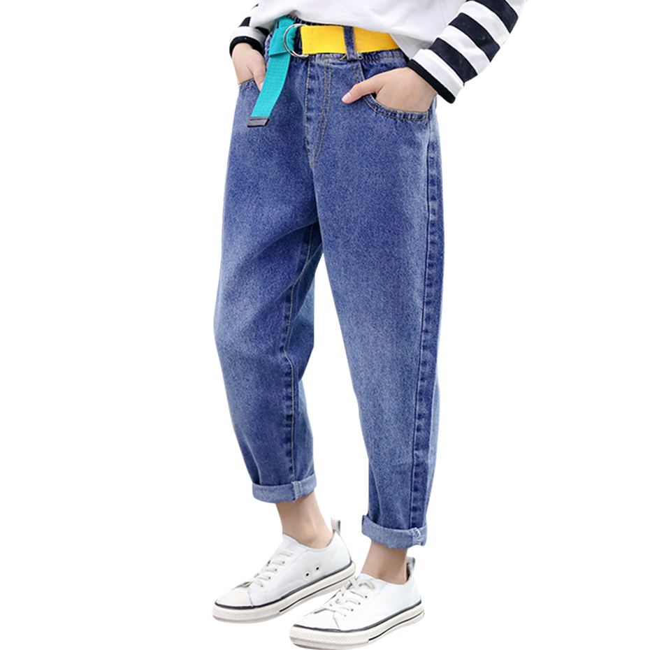 Джинсы джинсы с ремнем для девочек; Сезон весна осень; Детские джинсы Повседневная стильная детская одежда; 6, 8, 10, 12, 14|Джинсы| | АлиЭкспресс