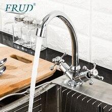 Frud torneira da cozinha 360 graus de rotação torneira pia misturadora dupla alça misturador água da cozinha