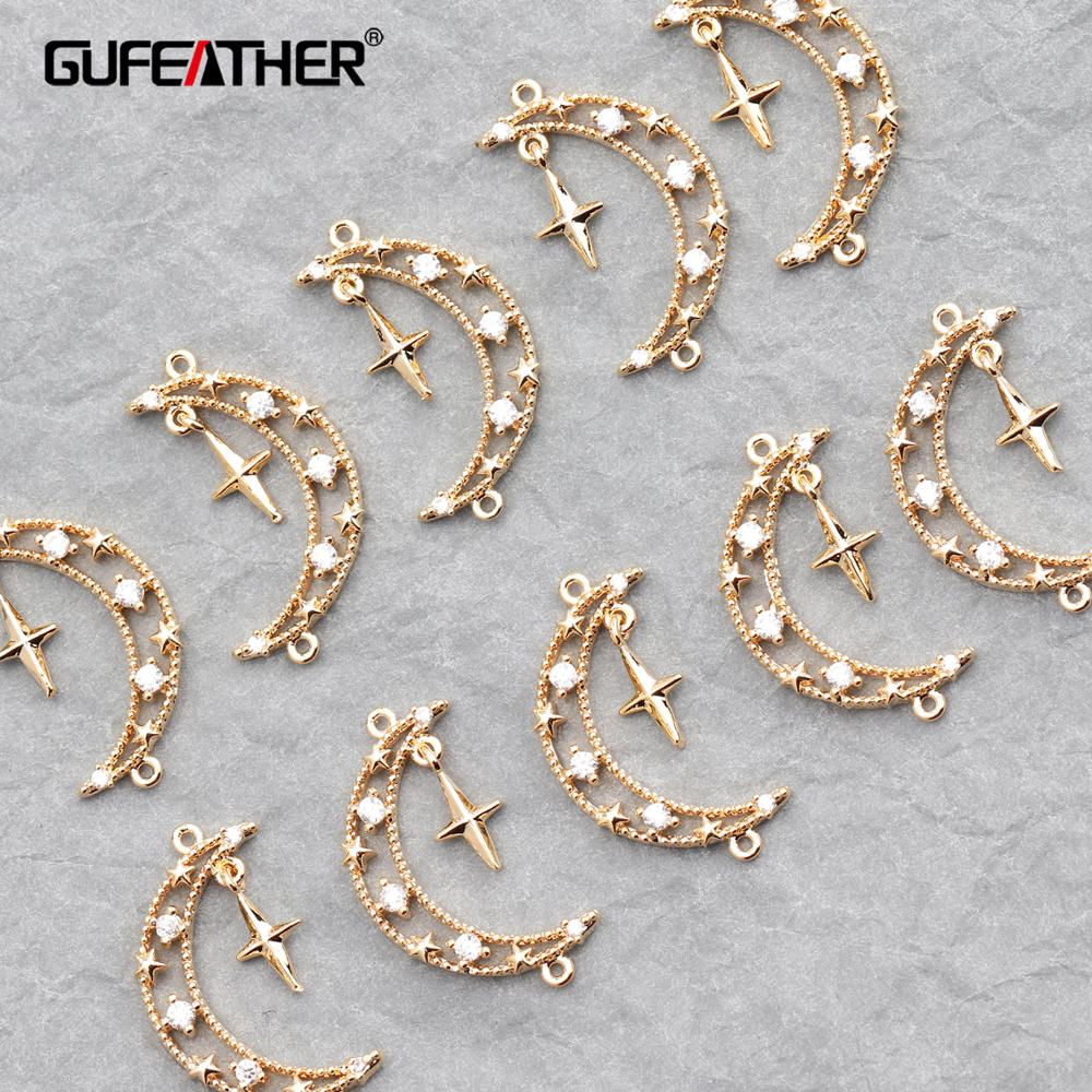 GUFEATHER M619,jewelry Accessories,18k Gold Plated,hand Made,diy Pendants,moon Shape,diy Earring,jewelry Making,10pcs/lot