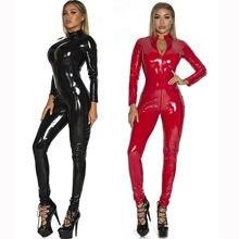 S-5XL Sexy Dessous Rot Schwarz Weibliche Faux Leder Catsuit PVC Latex Körper Front Zipper Gabelung Stretch Overalls