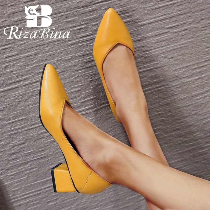 RIZABINA 4 Color Office Ladies Pumps Hot Sale Spring Party Wedding High Heel Shoes Woman Pointed Toe Retro Pumps Size 35-40