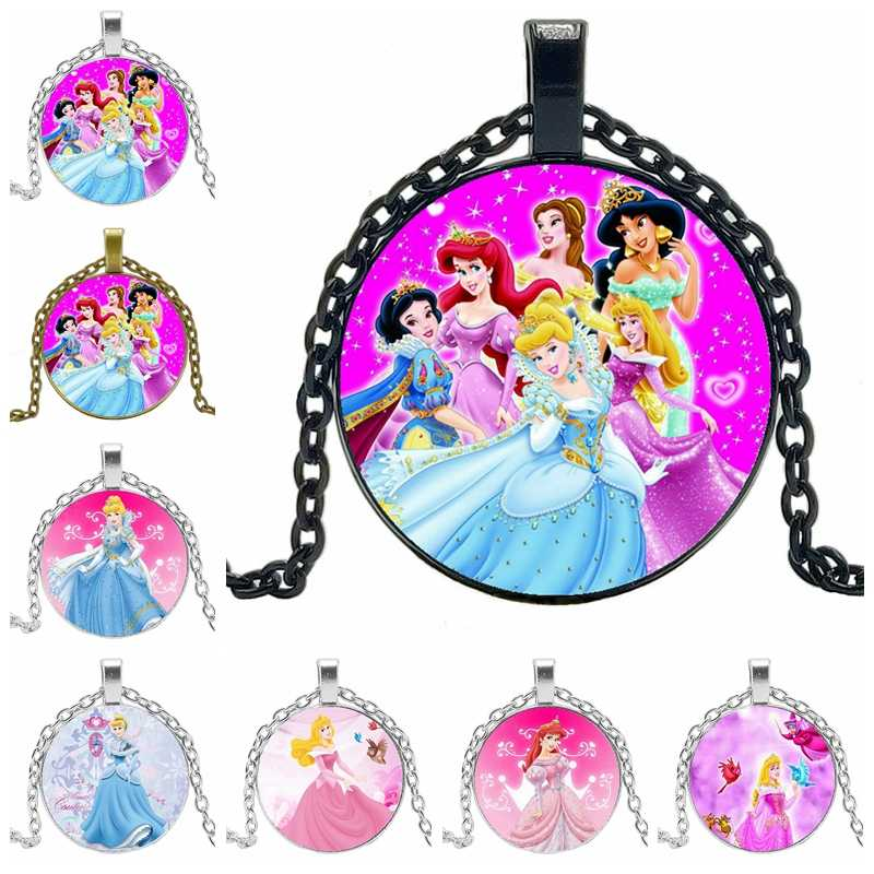 2019 New Hot Cartoon Blonde Princess and Ice Queen Series Glass Convex Round Pendant Necklace Girl Jewelry Gift
