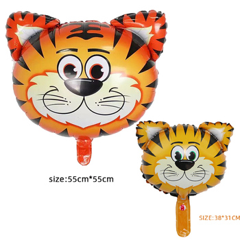2pcs mini and large tiger aluminum balloon baloon birthday decoration verjaardag decoratie balony hel Animal Ballons baby shower image