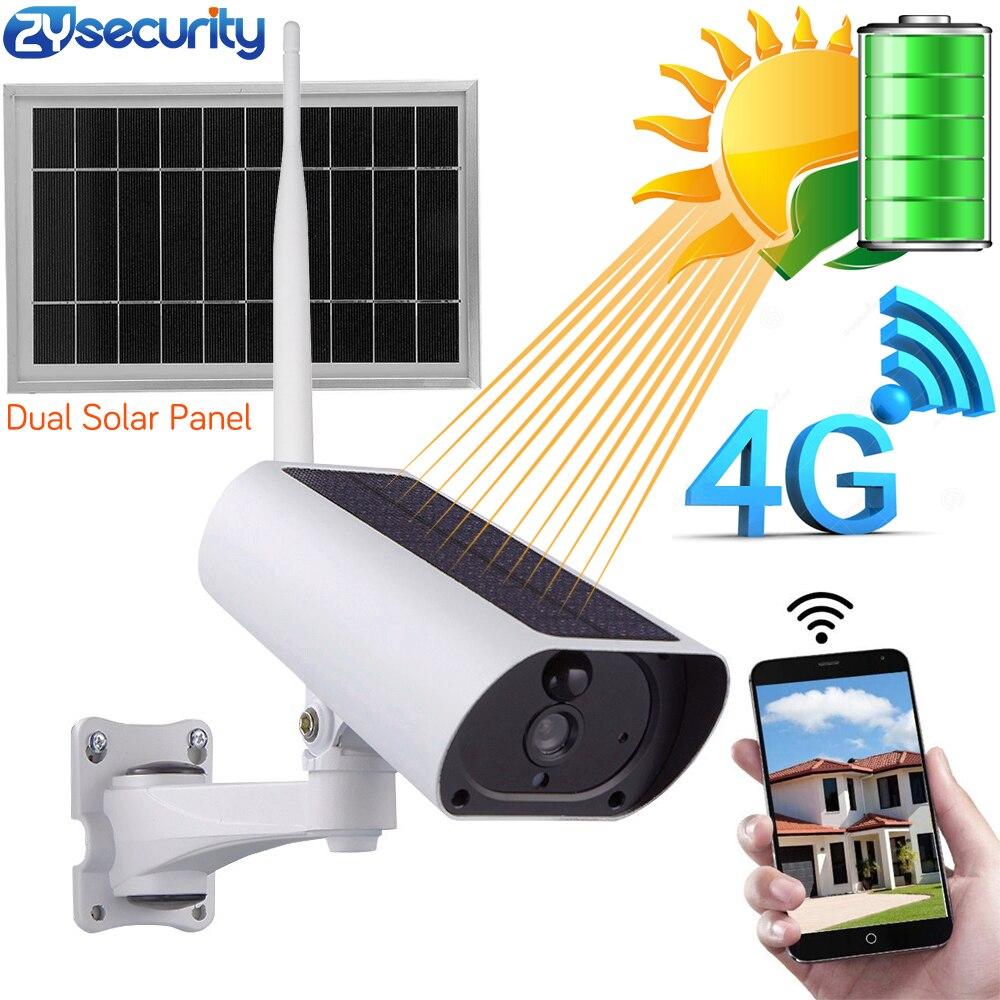Solar Power 4G SIM Card WiFi IP Camera Rechargeable Battery 1080P 4X Zoom Audio IR Night View Outdoor Video Surveillance Camera