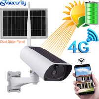 Energia solar 4g cartão sim wifi câmera ip 1080 p 4x zoom áudio ir visão noturna ao ar livre de vigilância de vídeo da bateria de segurança 4g câmera