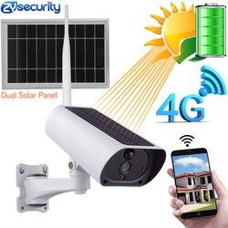Energia solar 4g cartão sim câmera ip sem fio bateria de recarga 1080 p 4x zoom áudio ir visão noturna ao ar livre câmera de vigilância de vídeo