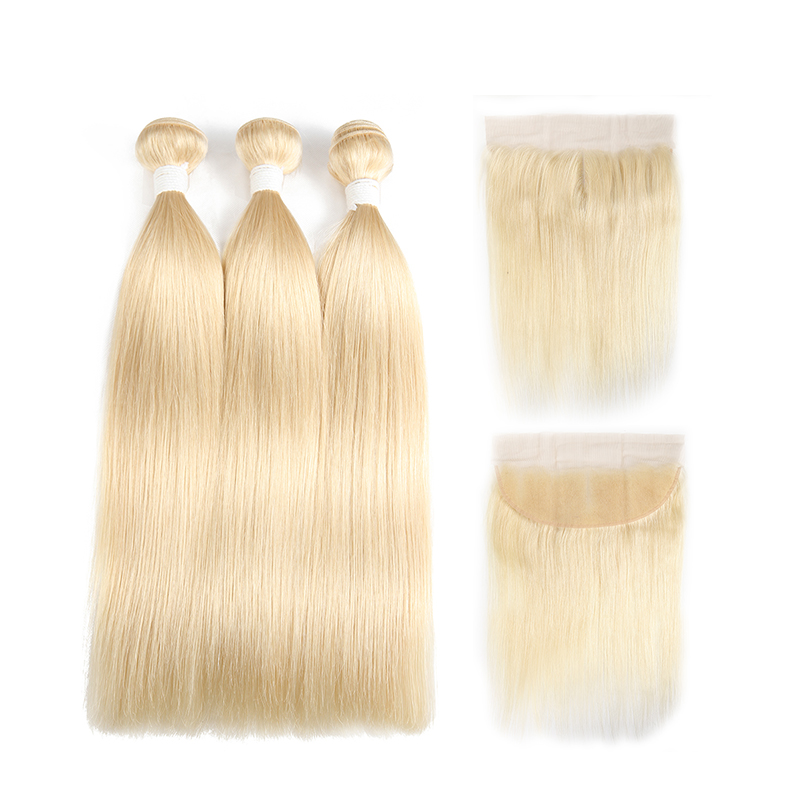 Image 2 - 1B 613 Bundles With Frontal Euphoria Brazilian Straight Remy Human Hair 3 Bundles With Platinum Blonde Lace Frontal Closure 13x4-in 3/4 Bundles with Closure from Hair Extensions & Wigs
