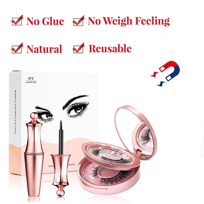 3d Magnetic Eyelashes and Eyeliner Set Natural Long False Mink Magnetic Lashes Wholesale In Bulk Reusable Beauty Make Up Tool