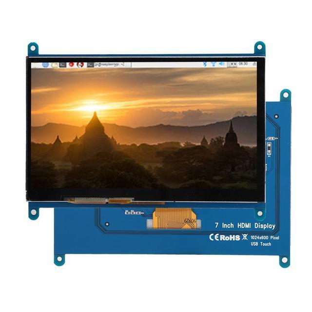 """شاشة LCD تعمل باللمس بالسعة لتوت العليق Pi 4B/3B/3B + 7 """"1024*600 HDMI بالسعة شاشة تعمل باللمس محرك أقراص USB خالية من BB الأسود"""