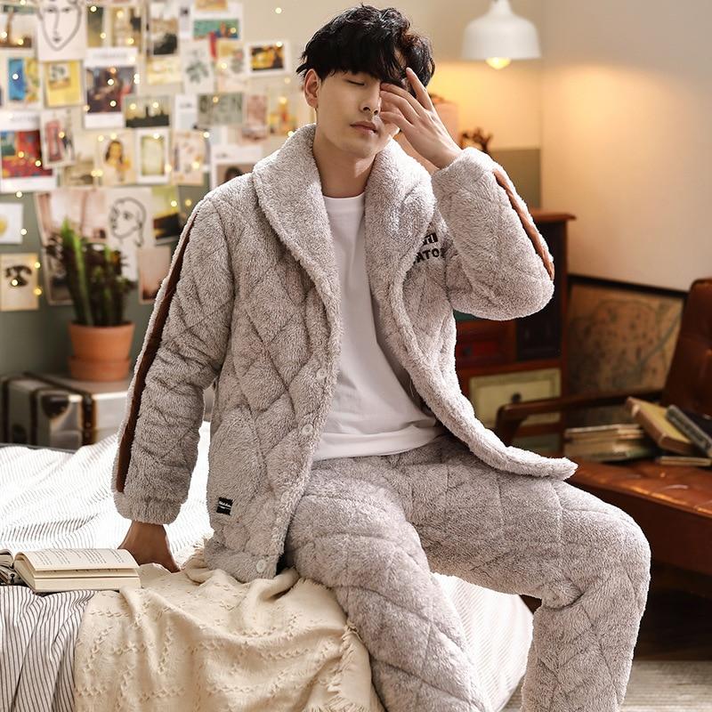 Men's Pajamas Suit Velvet Flannel Warm Fleece Home-Service Autumn Winter Thick Fashion