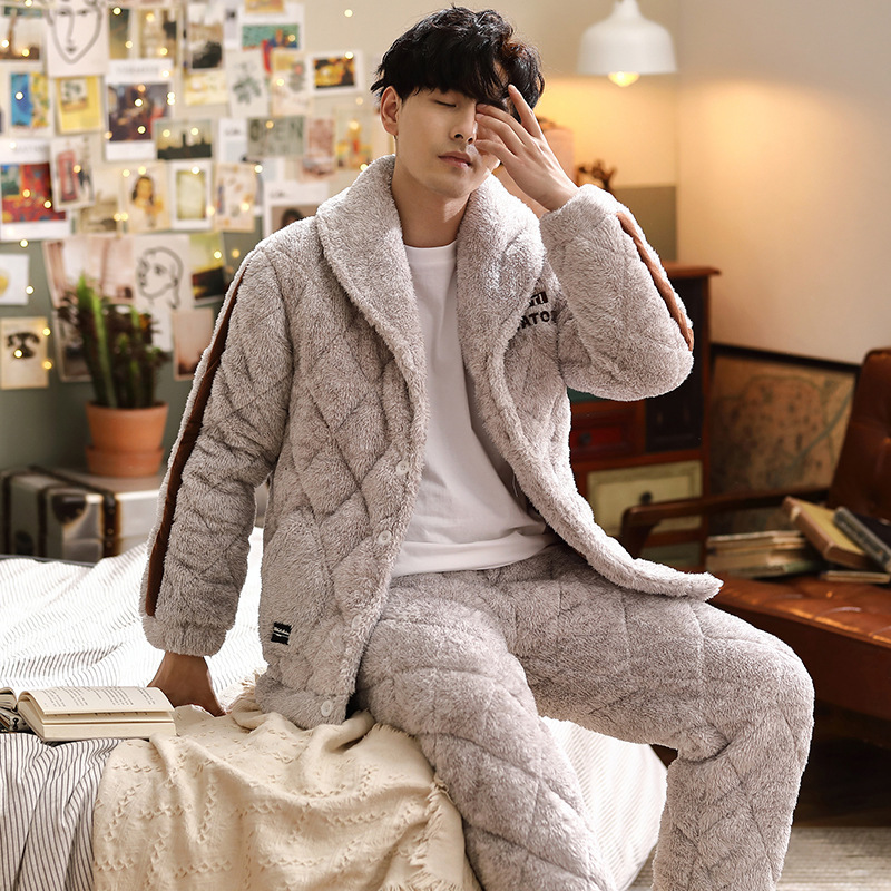 Men's Pajamas Winter Three-layer Quilted Plus Velvet Thick Coral Fleece Suit Flannel Warm Home Service Autumn and Winter Fashion