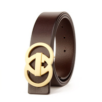 men cow genuine leather luxury strap male g belts for men new fashion classice vintage pin buckle men belt High Quality