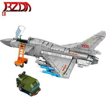 BZDA  J-10B Fighter Military Toy Plane Model Technic Aircraft Building Blocks  Armed Soldiers Airplane Bricks Toys  Gifts  Kids