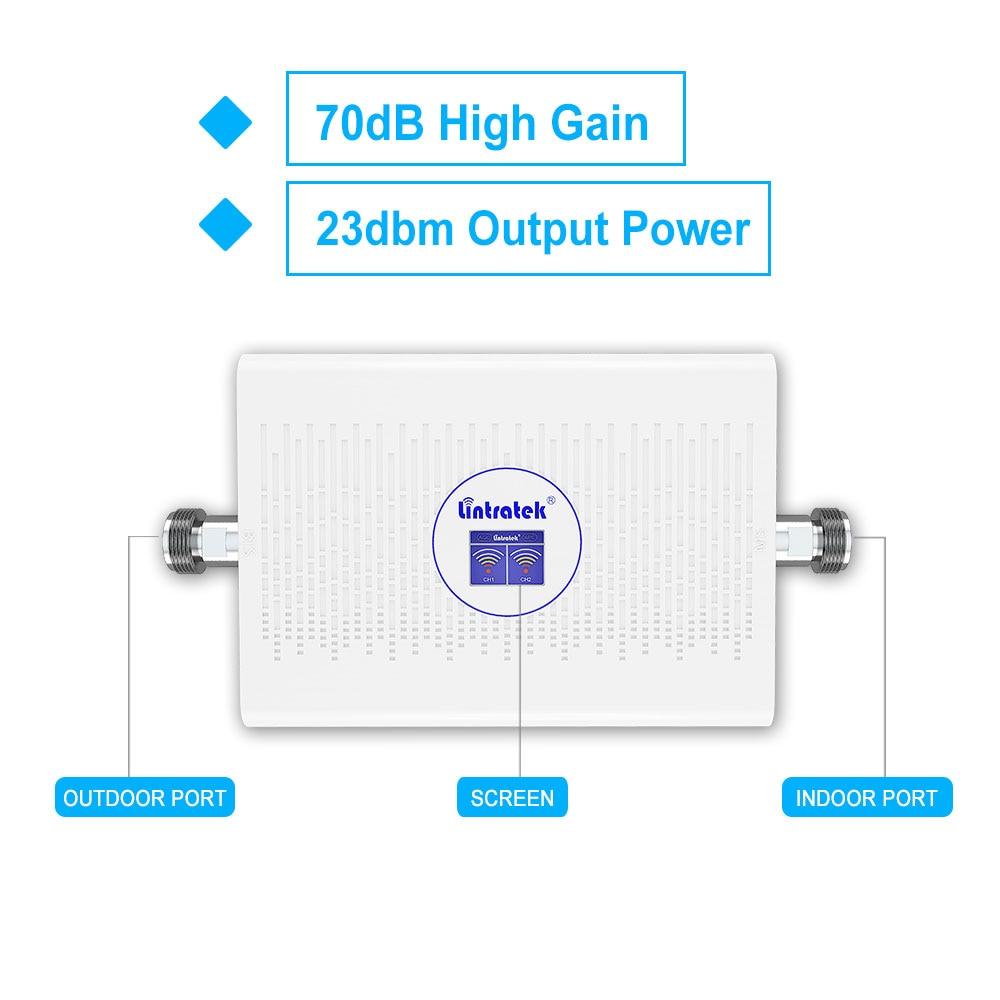 Lintratek 70dB 23dBm репитер 3g umts 2100 900 мГц репитер gsm 3g 4g усилитель 3g 3g ретранслятор 2100 repeater gsm 2g 3g усилитель AGC ALC Новое поступление @